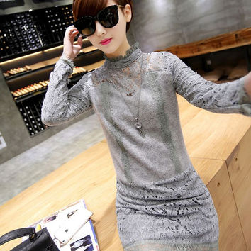 Women spring autumn  round neck long sleeve lace long top dress