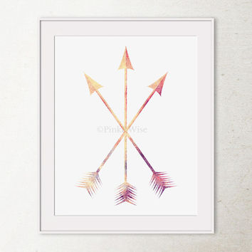 Arrow Art Print, Arrow Print, Crossed Arrows Wall Art Decor, Three Arrows Wall Print, Coral Wall Art, Tribal Arrows Wall Decor Printable Art