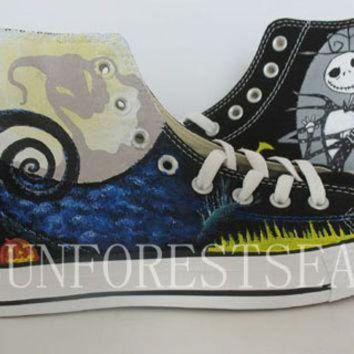 ONETOW converse custom sneakers canvas shoes the nightmare before christmas hand painted hal
