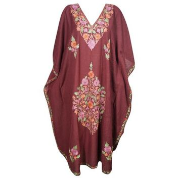 Mogul Bohemian Womens Long Kaftan Maroon Kashmiri Floral Hand Embroidered Sleepwear Maxi House Dress - Walmart.com