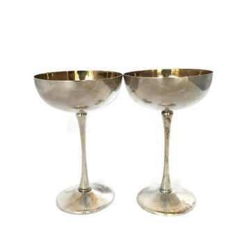 Vintage Eales 1779 Silverplate Italy Silver and Golden Toned Coupes Champagne Goblet Chalice Wine Glass Dessert Cup