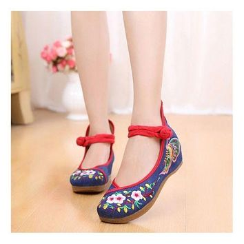 Sunflower National Style Woman Shoes Increased within Emboridered Shoes Old Beij
