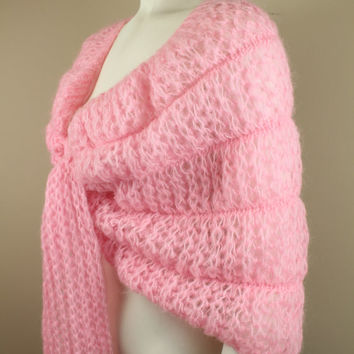 SALE - 50s / 60s - Mantessa - Pink - Open Knit - Tie Shawl - Sweater Wrap - Made in Italy