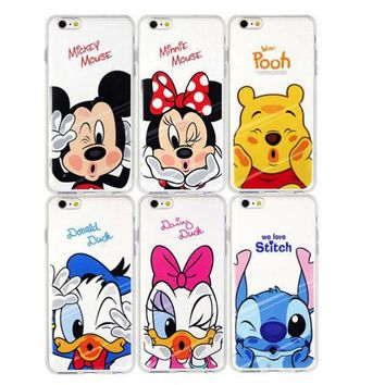 Coque Capa Para Cute Cartoon Mickey Minnie Case Soft TPU Cleart Love Phone Case For iPhone 4s 5 5s SE 5C 6 6s 6 7 Plus 6s Fundas