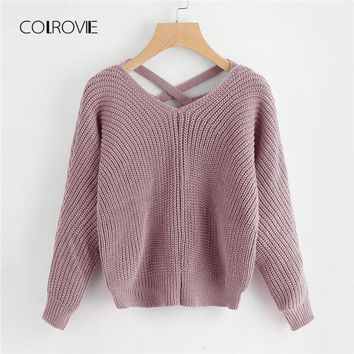 COLROVIE Pink Criss Cross V Back Chunky Knitted Casual Women Sweater 2018 Autumn Solid Khaki Sweater Grey Pullovers Jumper