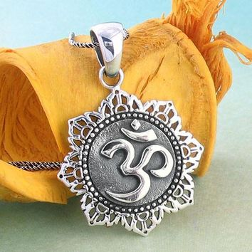 Ornate Om Lotus Necklace in Sterling Silver