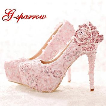 Fashion Pink Lace Bride Shoes Rhinestone Rose Flower High Heel Wedding Shoes Platform Round Toe Princess Pumps Prom Shoes