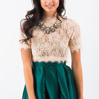 Marianne Pink Lace Crop Top