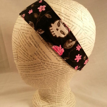 Reversible Headband - Skulls and Roses - Fabric Headband - Girls Headband - Adult Headband - Halloween Headband - Black Pink Gray Skulls