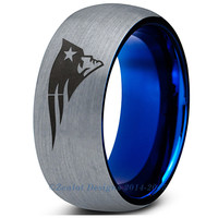 New England Patriots Silver Blue Dome Tungsten Ring
