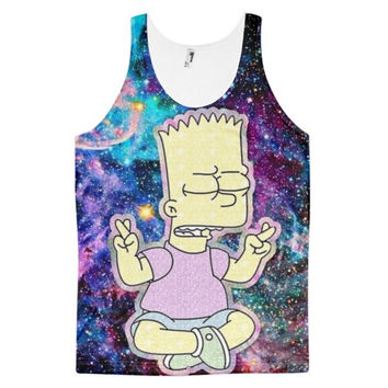 Hippy Simpson In Space Bart Simpson In The Sky The Simpson Dye Sublimation All Over Print 3D Full Print Cotton Polyester Unisex Novelty Purple & Blue Tank Top