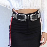 Get Ready Black Western Belt with Oversized Silver Buckles