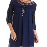 Crochet & Chiffon Shift Dress by Charlotte Russe