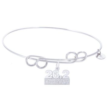 Sterling Silver Carefree Bangle Bracelet With Marathon 26.2 W/Diamond Charm