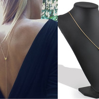 New arrivel Metal Gold Bar Tassels Pendant Long Necklace Love Heart Before after Back Necklace & Pendant free shipping