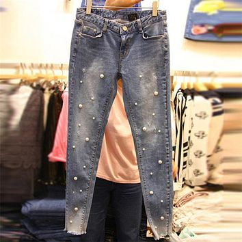 Women pearl denm jeans Pearls pencil denim pants Casual Slim jeans 2017 Embroidered Flares trousers mid waisted skinny cowboy