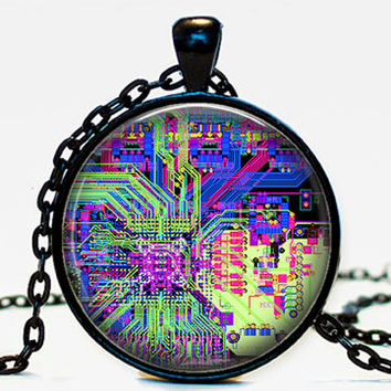 Computer Circuit board necklace pendant, circuit board, geeky jewelry,computer gift, gift for her him,purple,pcb board, print circuit board