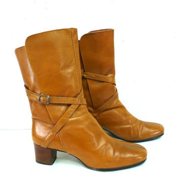 Vintage Tan Leather Shoes Stacked Wooden Heel Made in Brazil Ankle Boots Women 8.5