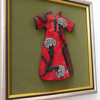 Wall Hanging Decor, Red Power Dressing with Ottoman Carnation on Green Velvet, Framed, Wall Art