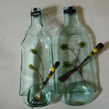 Slumped Wine Bottles Cheese and Cracker Set,  Hand Painted Fused Glass , Decorative Fused Glass,  Unique Glass Art