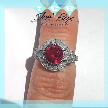 Ruby - 2.5ct Hearts and Arrows Cut in 14K White Gold