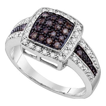 10kt White Gold Women's Round Brown Color Enhanced Diamond Cluster Ring 1-2 Cttw - FREE Shipping (US/CAN) - Size 9