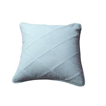 Tache Seafoam Blue Soothing Pastel Cotton Diamond Stitch Pattern Cushion Cover 2 Piece (JHW-856-CC)