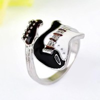 Silver Black Guitar Punk Rings For Women (Adjustable)