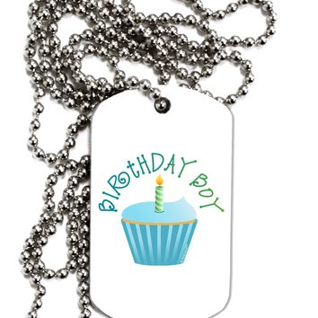 Birthday Boy - Candle Cupcake Adult Dog Tag Chain Necklace by TooLoud