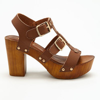 BROWN BUCKLED CLOG HEELS