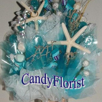 WEDDING Beach CENTERPIECE w/ Edible Favors! An Elegant Candy Bouquet w/ Beachy Accents, Glitter Starfish, Sea Shells & a Sand Bar in a Vase!