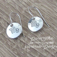 Zodiac Scorpio Jewelry, Zodiac Earrings, Silver Scorpio Earrings, Scorpio Jewelry, Horoscope Earrings, Horoscope Jewelry