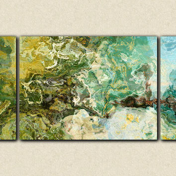 "Large abstract expressionism stretched canvas print, 30x60 giclee in teal, brown and green, from abstract art painting ""Rain Forest"""