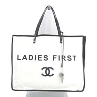 Chanel A92885 Women's Canvas Leather Tote Bag White,Black BF321079