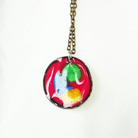 Multicoloured Enamel Pendant