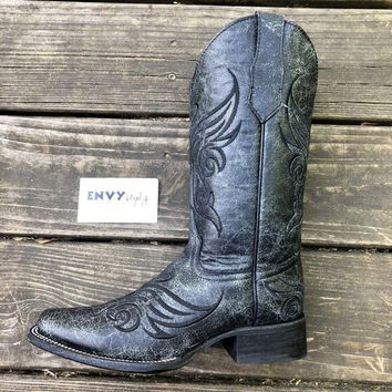 Corral Black Crackle Square Toe Boot