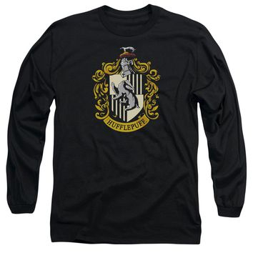 Harry Potter - Hufflepuff Crest Long Sleeve Adult 18/1 Officially Licensed Shirt
