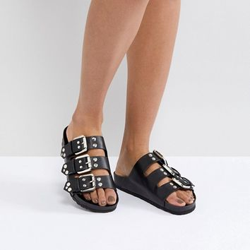 London Rebel Triple Buckle Slider at asos.com