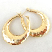 Estate 14K Yellow Gold Hammered Hoop Earrings