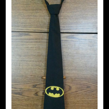Batman Inspired Children's tie (velcro, clip on, super hero, black, yellow)