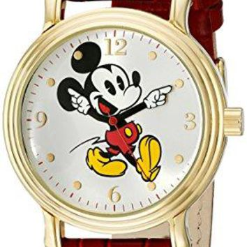 Disney Womens W001870 Mickey Mouse GoldTone Watch with Red Faux Leather Band