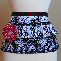 Black and White Retro Vendor Half Apron/ Utility/ Waitress/ Groomers/ Cooks, 3 Deep Pockets