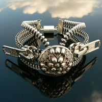 Silver Steampunk Button Zipper Cuff Bracelet - Industrial Bracelet