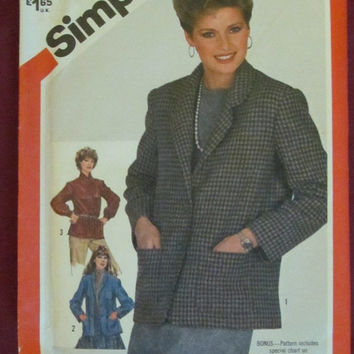 SALE Uncut 1980's Simplicity Sewing Pattern, 5664! Size 16 Large Women's/Misses Cardigan/Jackets/Coats/Smock/Tunic Jacket, Business Casual/F