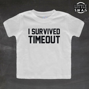 I Survived Timeout (white shirt) - toddler apparel, kids t-shirt, children's, kids swag, fashion, clothing, swag style, funny, timeout shirt