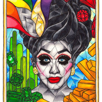 Bianca Del Rio, RuPauls Drag Race, Drag Queen Print, RPDR, Not Today Satan, Pop Art Print, 11x14 Archival Giclee Art Print