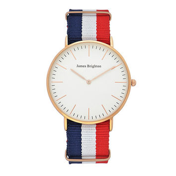 Rose Gold Striped Timepiece by James Brighton