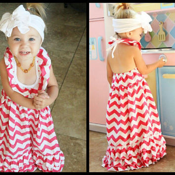 Little Girls Dresses - Hot Pink Maxi Dress - Toddler Girl Long Maxi