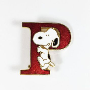 Snoopy Pin Red Letter P for Peanuts Vintage Cartoon Character Collectible Jewelry Sparkle Gel Enamel