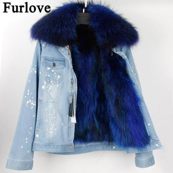 Furlove 2017 Women Winter Jacket Large Raccoon Fur Collar Jacket Denim Real Raccoon Fur Lining Outwear Brand Style Parkas